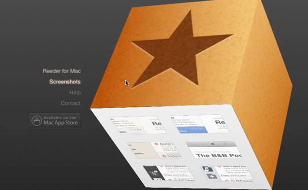 CSS 3D transforms: Reeder for Mac
