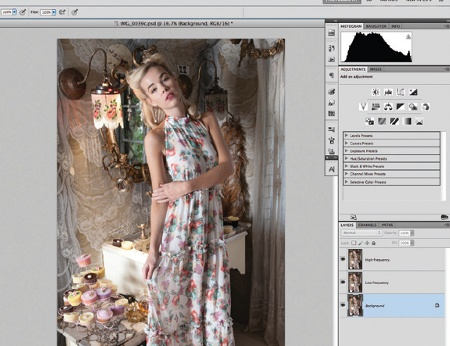 Retouch images with frequency separation: main image