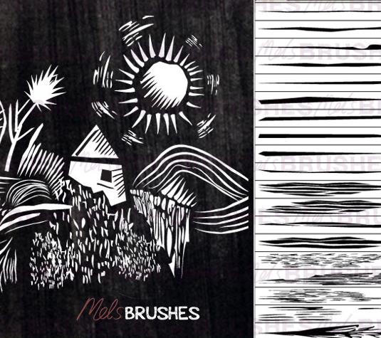 Best free Illustrator brushes - Lino cut brushes