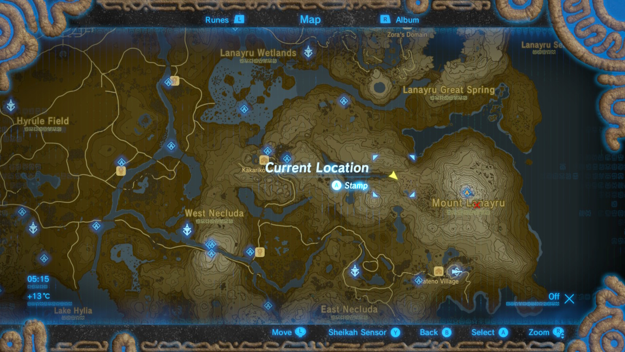 The legend of zelda breath of the wild captured memories locations select map to view full size gumiabroncs Choice Image