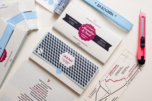 Invitation design: chocolate wrapper