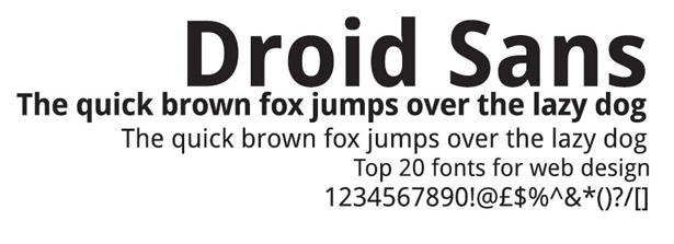 Web fonts: Droid Sans