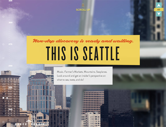 Example of parallax scrolling websites: Seattle Space Needle