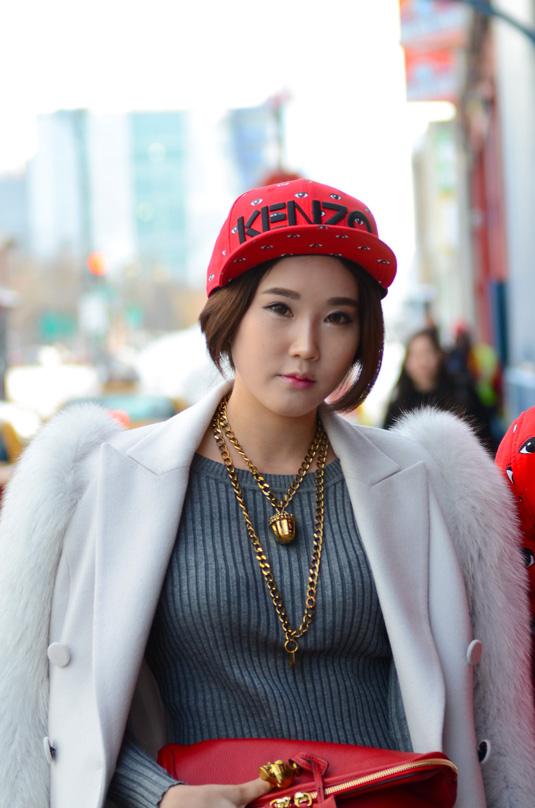 Hip girl in street
