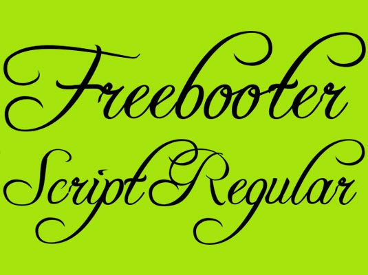 Free cursive fonts: Freebooter Script