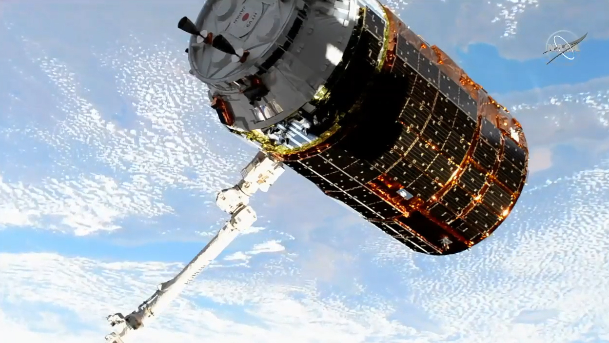 Japanese cargo ship arrives at space station to make one last delivery