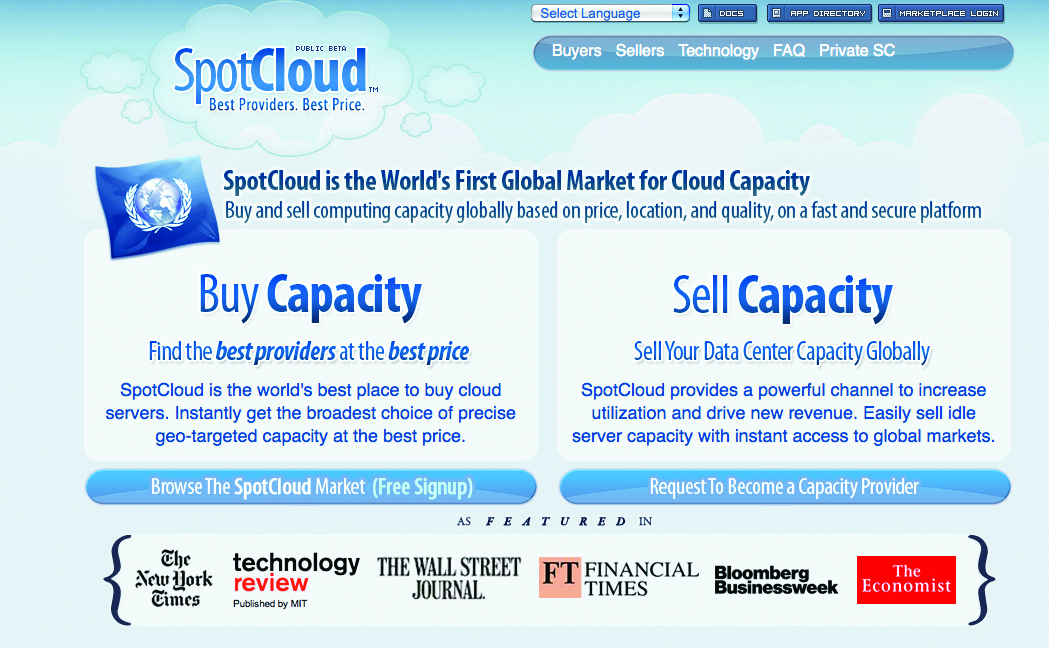 SpotCloud is like a big market place for hosting companies to resell their excess capacity as cloud instances