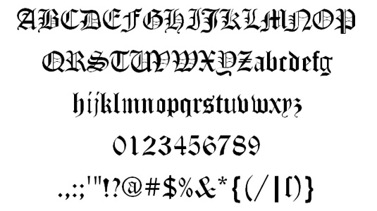 Tattoo fonts: Canterbury