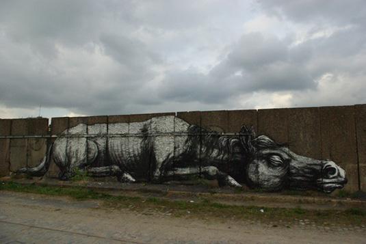 examples of street art: ROA