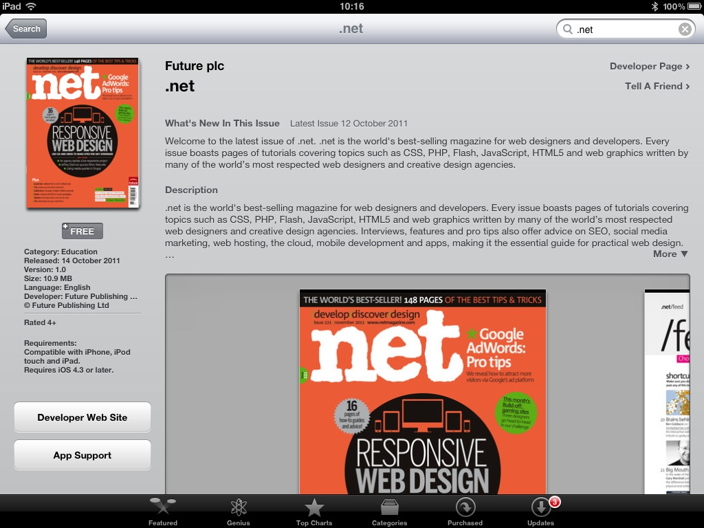 In iTunes look for .net, download and install the free app and discover .net via your iOS device