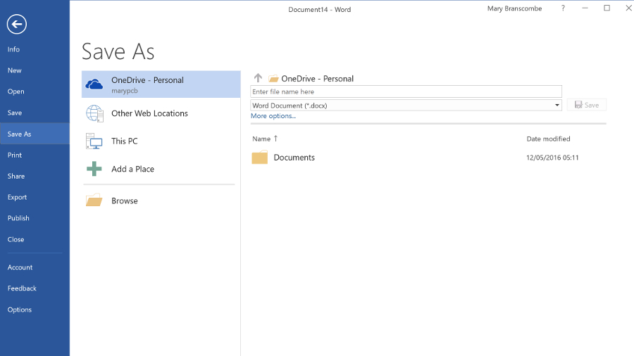 OneDrive in office 2016