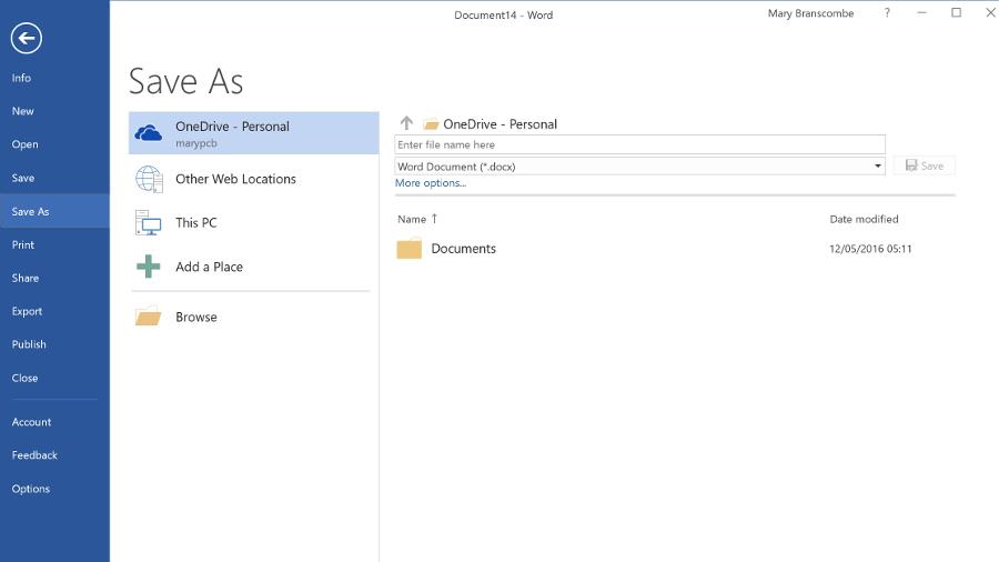 OneDrive in office 2016