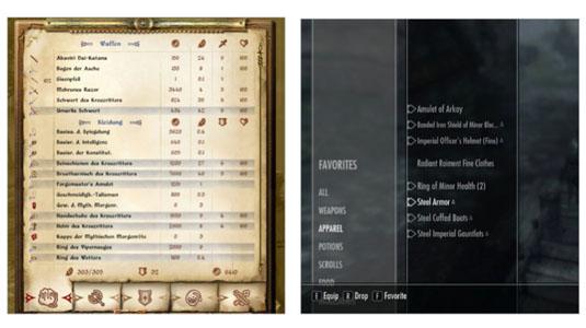 UI design: Skyrim