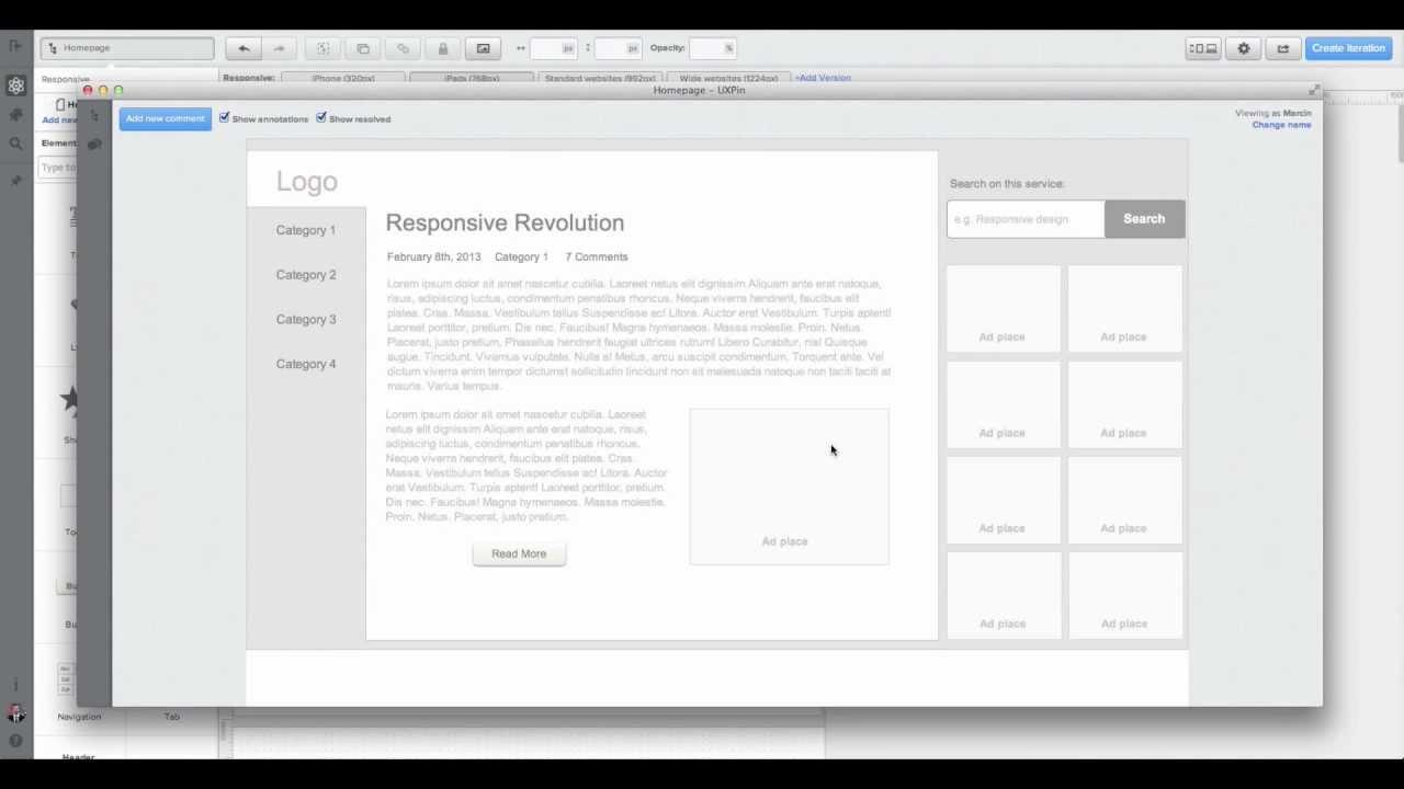 UXPin screengrab