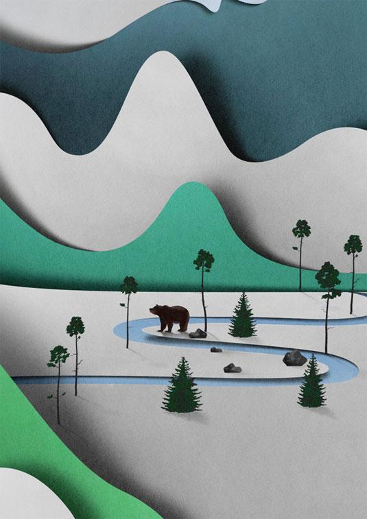 paper cut landscape