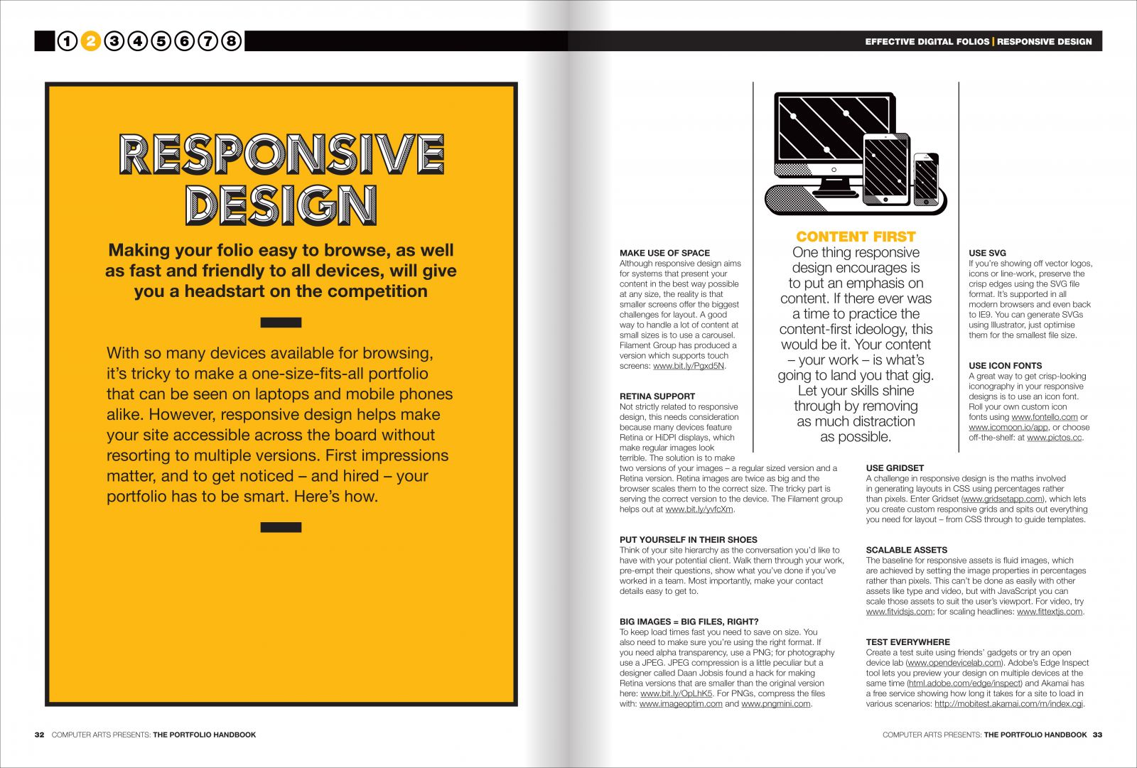 Spread from chapter two: responsive design
