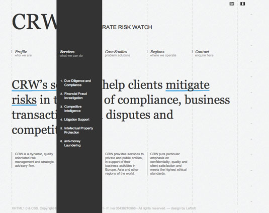 Website navigation: Corporate Risk Watch homepage