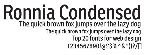 Web fonts: Ronnia Condensed