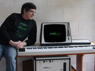 Peter Vogel the father of the Fairlight shows off his new baby