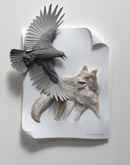 Calvin Nicholls Paper Art - crow and wolf