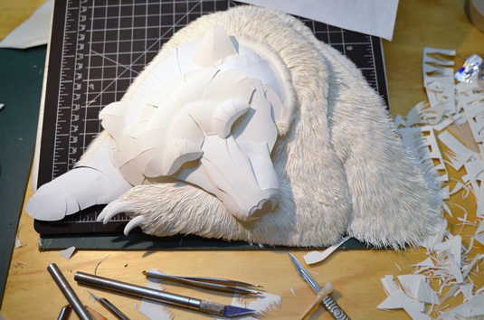 Calvin Nicholls Paper Art - Grizzly WIP