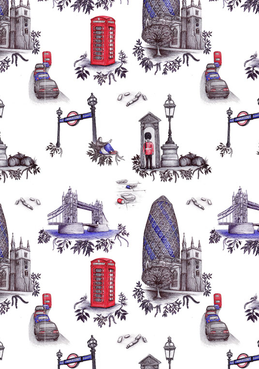 Real London wallpaper, by Nicola Toon