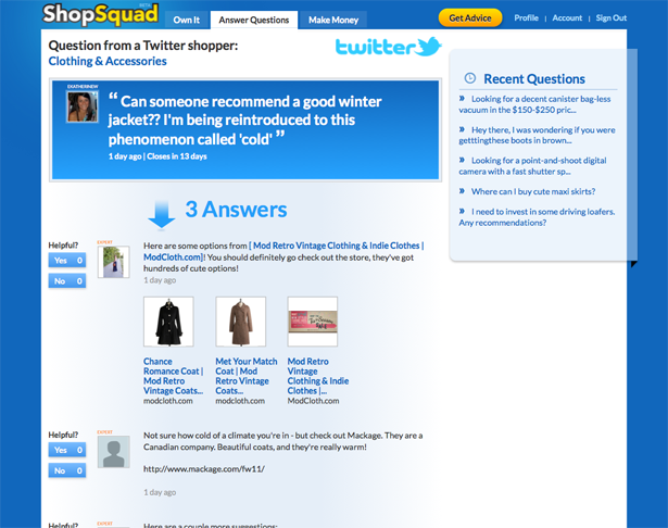As a ShopSquad member, users may post responses to questions that include product recommendation links (or