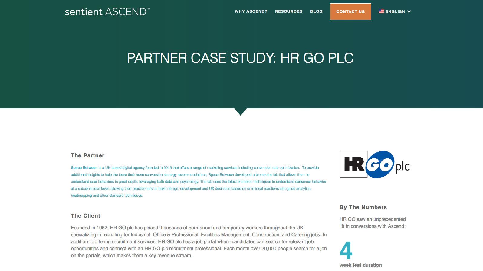 HR GO plc case study landing page