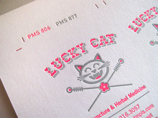 Letterpress business cards: Lucky Cat Acupuncture