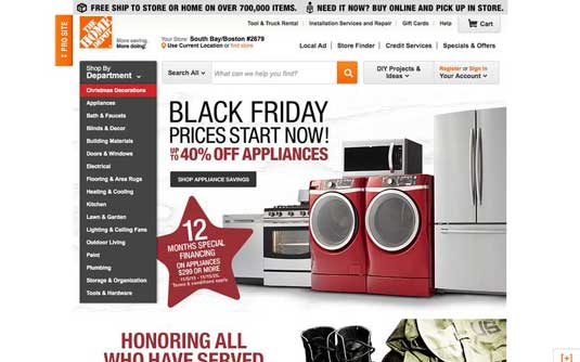 Home Depot homepage