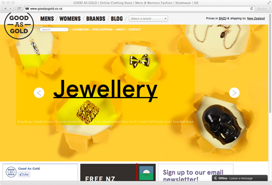 ecommerce website: Good As Gold