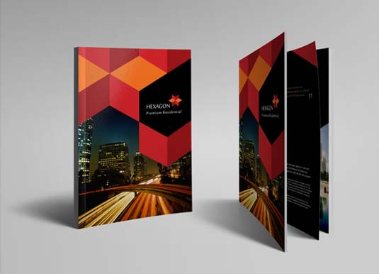 Brochure templates: Hexagon