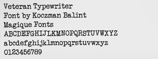 Free typewriter font: Veteran Typewriter