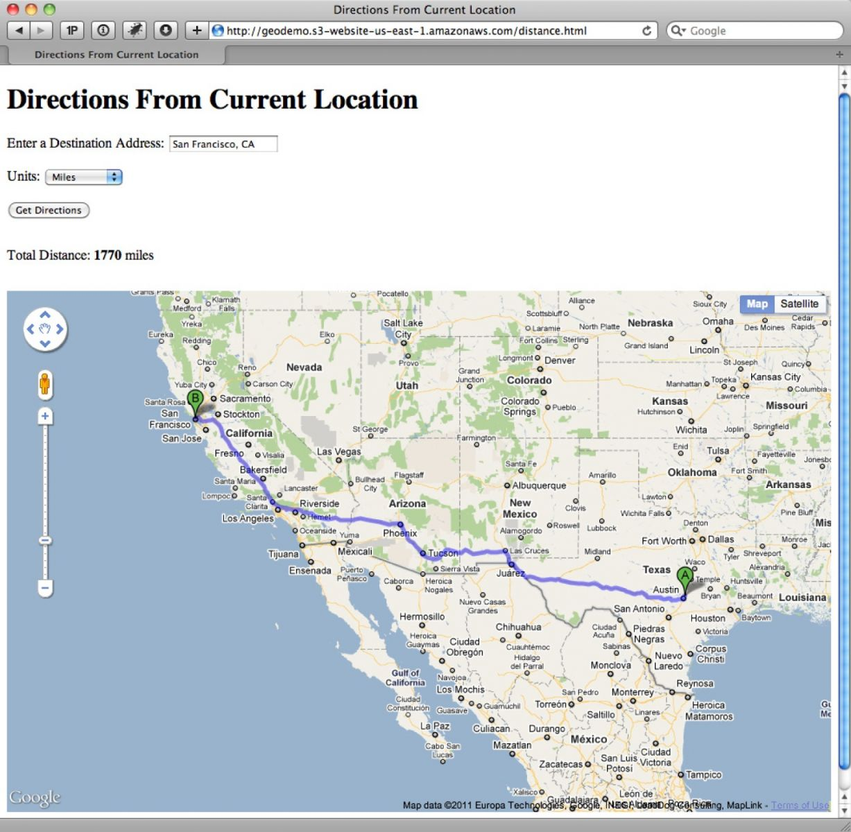 Determining the directions from a location