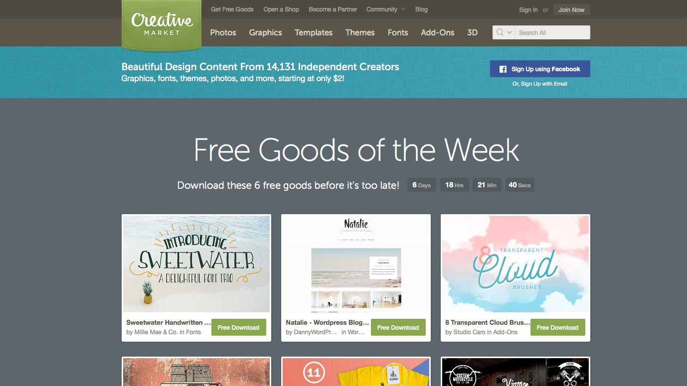Free font resources: Creative Market