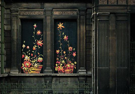 orange street art: flowers