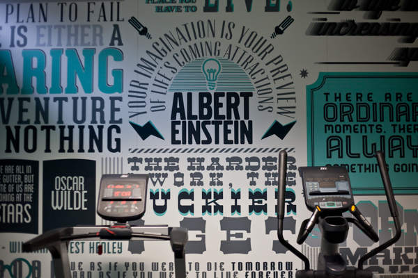 typographic mural provides inspiration for gym goers creative bloq