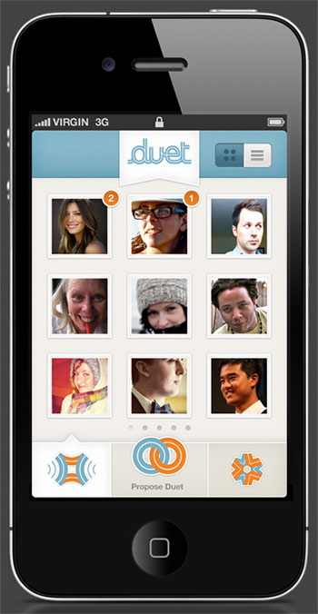 This is a screenshot from Duet, the first iPhone app I designed. It's an app built around a simple concept: do things with the people you love. It's coming out soon - go here for more info: http://duet.me/