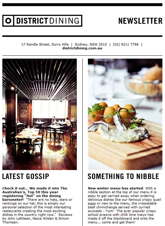 email newsletter designs: District Dining