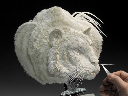 Calvin Nicholls Paper Art - big cat