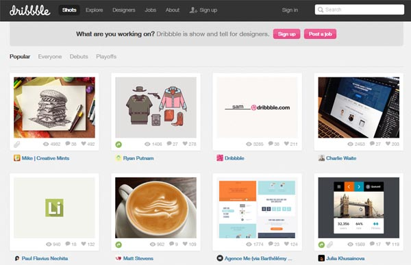 Free graphic design software: Dribbble