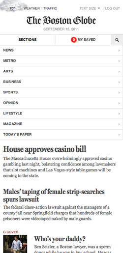 In its narrowest form, the Boston Globe website's nav collapses and becomes a mobile-oriented drop-down. Very smart