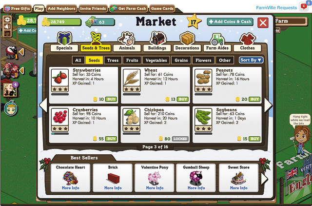 Figure 5.7 The staggered harvest times for crops in FarmVille allows players to decide how much gameplay they can fit into their lives