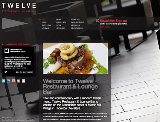 Colour trends web design 2013: Twelve Restaurant