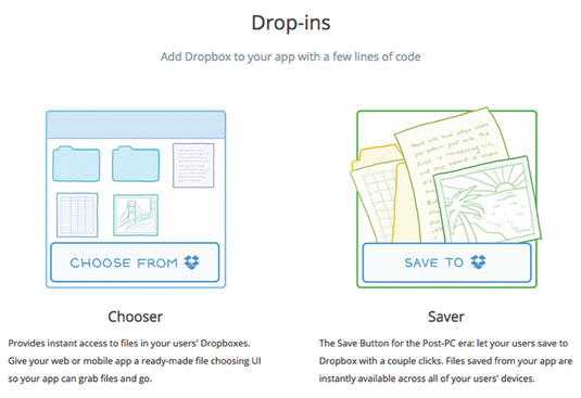 For the most common use cases, Dropbox uses 'drop-ins' that let you integrate with minimal code