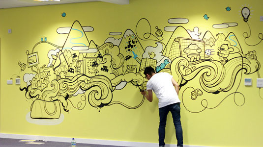 21 incredibly cool design office murals creative bloq for Creative mural art