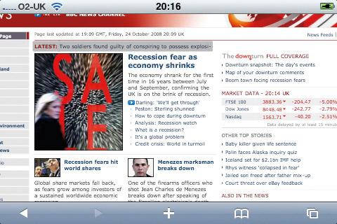 iPhone web design: BBC