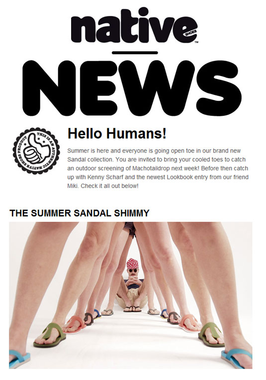 Email newsletter designs: Native Shoes