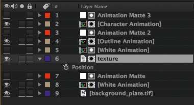 texture background, position keyframes