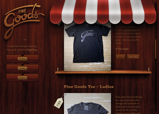 Examples of CSS: Fine Goods